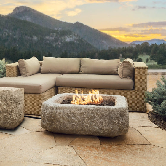 REAL FLAME 569LP ANTIQUE STONE SQUARE PROPANE FIRE PIT