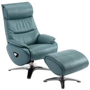 Adler Leather Recliner and Ottoman with Adjustable Headrest