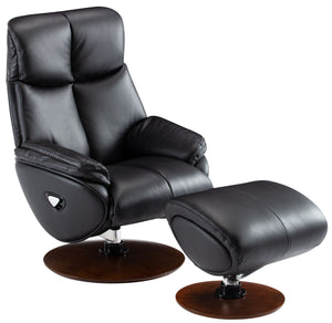 Alicia Leather Recliner and Ottoman with Adjustable Headrest