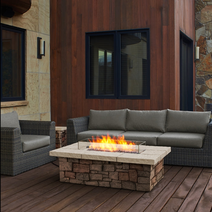 "REAL FLAME C11812LP SEDONA 52"" RECTANGLE LP FIRE TABLE W/NG CONVERSION KIT"