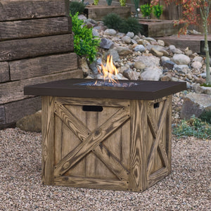 REAL FLAME C1725LP FARMHOUSE SQUARE LP FIRE TABLE W/NG CONVERSION KIT