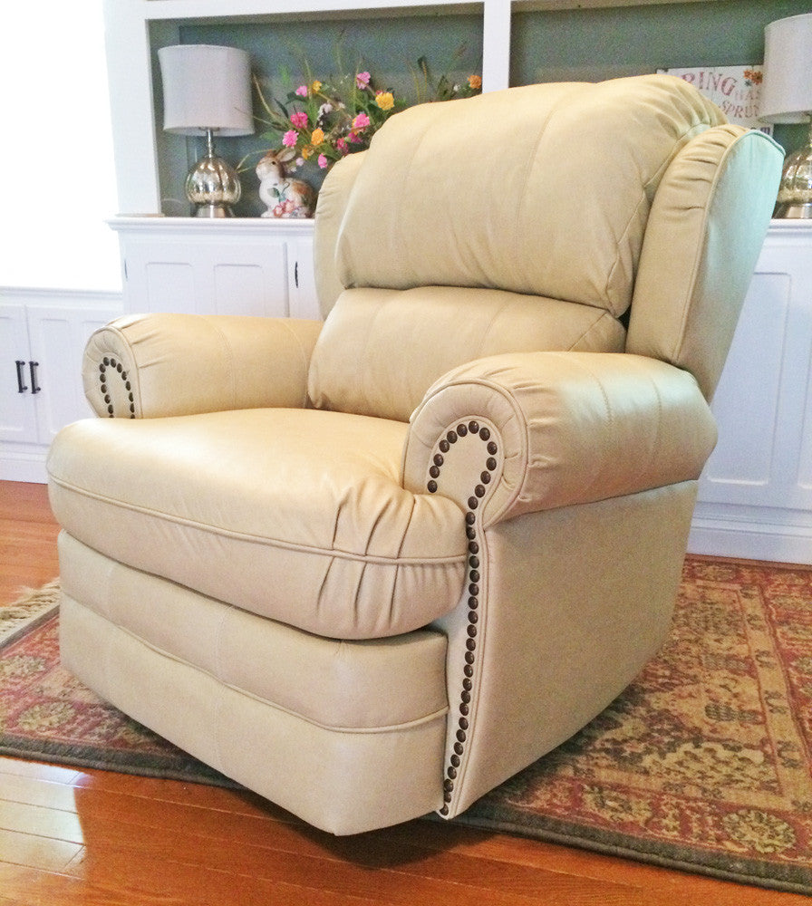 hancock top grain leather rocker recliner open box - Leather Rocker Recliner