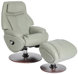 Barcalounger Marjon Leather Recliner and Ottoman with Adjustable Headrest