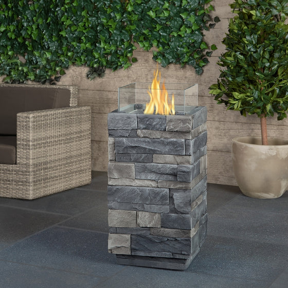 REAL FLAME T0004LP GRAY LEDGESTONE PROPANE FIRE COLUMN