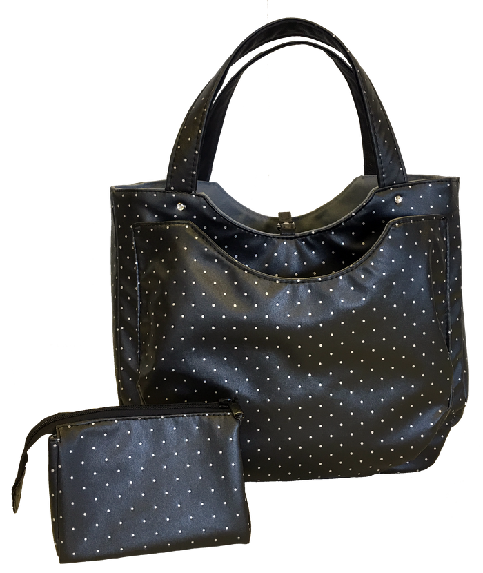 Charlotte Tote - Charcoal Swiss Dot