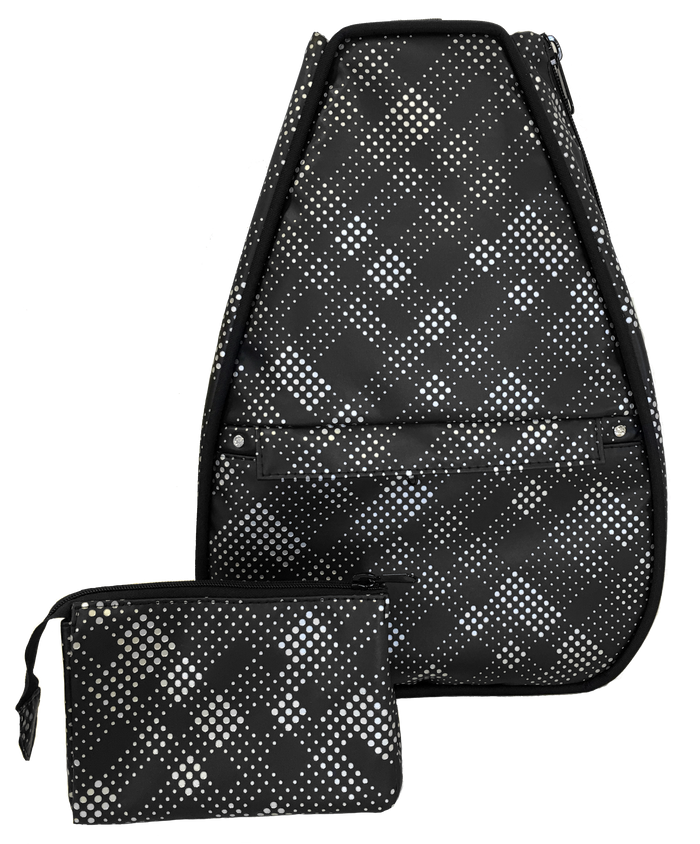 Elizabeth Backpack - Black Plaid Faux Leather