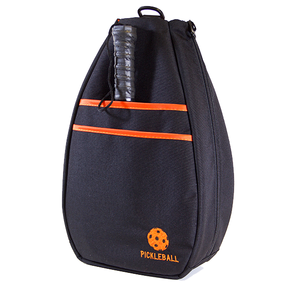 Pickleball Backpack - Black with Orange Lining