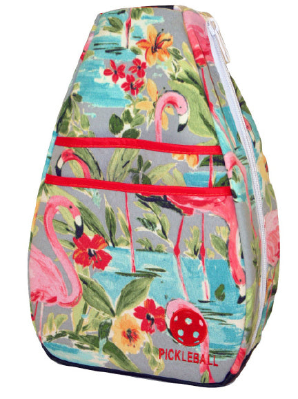 Pickleball Backpack - Flamingo with Orange Lining