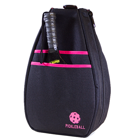 Pickleball Backpack - Black with Pink Lining
