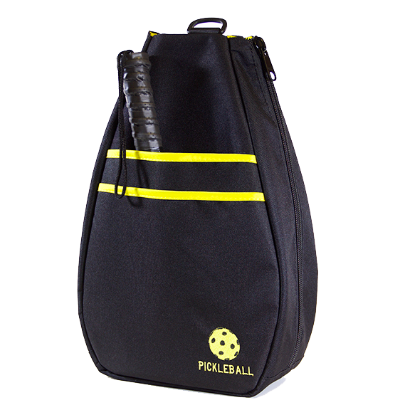 Pickleball Backpack - Black with Yellow Lining