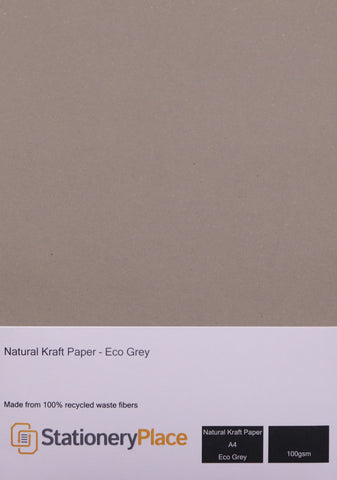 Recycled Paper A4 Kraft Paper Eco White & Eco Grey 100gsm 100% Recycled 1 sheet to 100 sheets