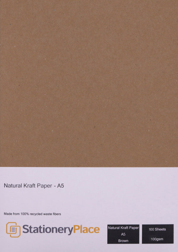 A5 Craft Paper - Brown Recycled 100 Pack 100GSM