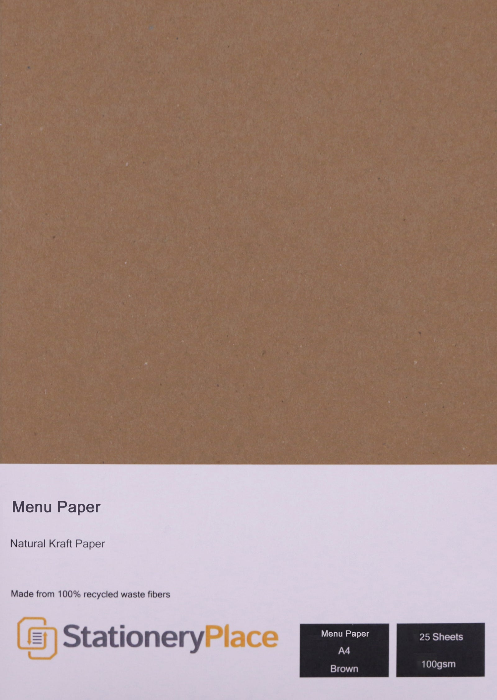 100% Recycled Eco Brown Kraft Menu Paper A4 Size
