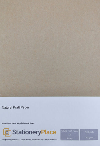 Brown Recycled Eco Kraft Paper - A4 25 Pack 100GSM