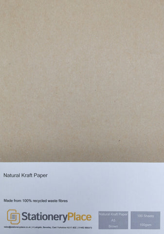 Brown Recycled Eco Kraft Paper - A5 100 Pack 100GSM