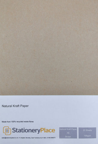 Recycled Eco Kraft Paper - A5 25 Pack 100GSM