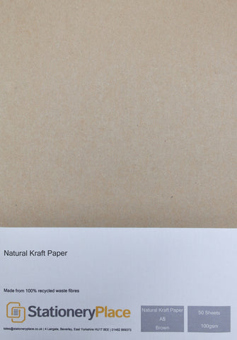 Recycled Eco Kraft Paper - A5 50 Pack 100GSM
