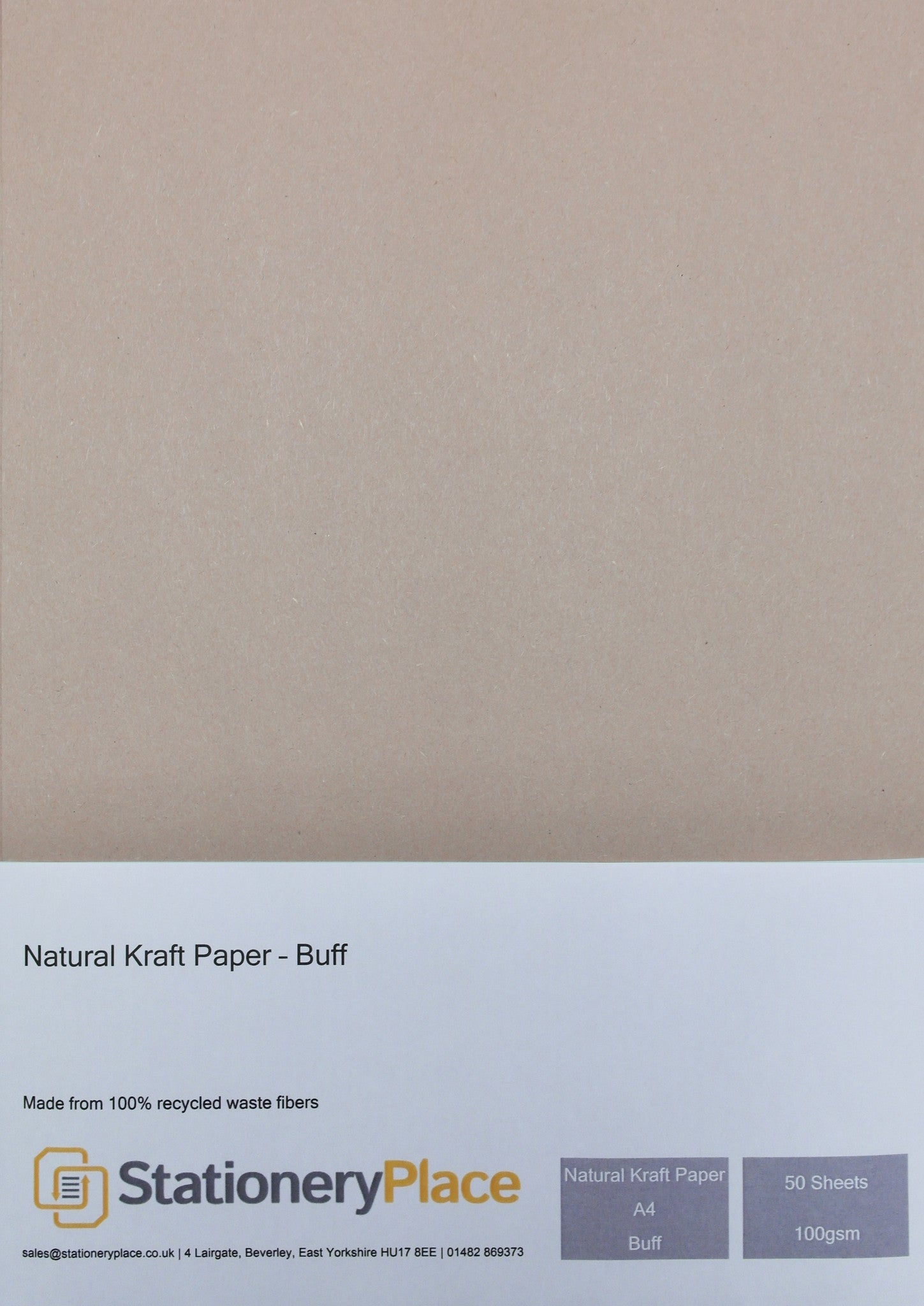 Recycled Eco Kraft Paper 100 GSM Buff A4 50 sheet pack