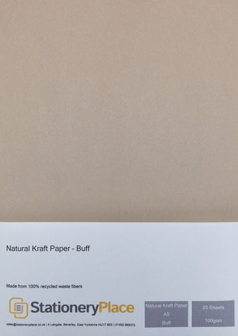 Recycled Eco Kraft Paper 100 GSM Buff A5 25 sheet pack