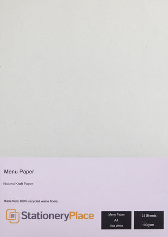 Menu Paper ECO White recycled A4 for Restaurants
