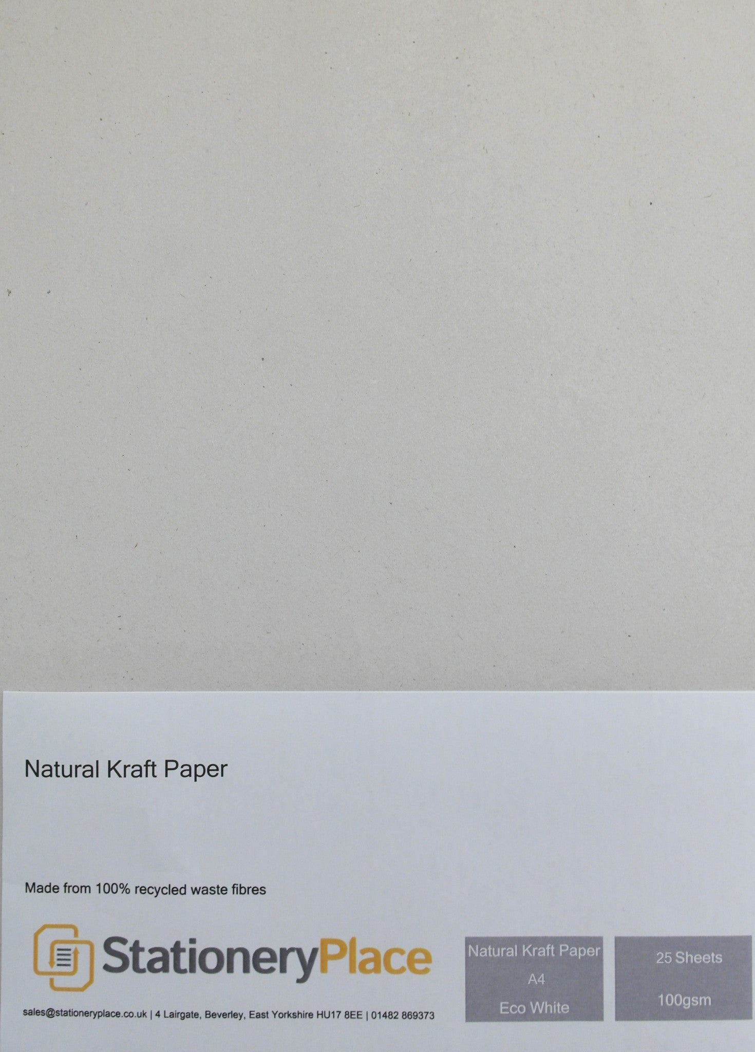 Kraft Paper A4 100 GSM 100% Recycled  Eco White 1 - 100 sheet packs