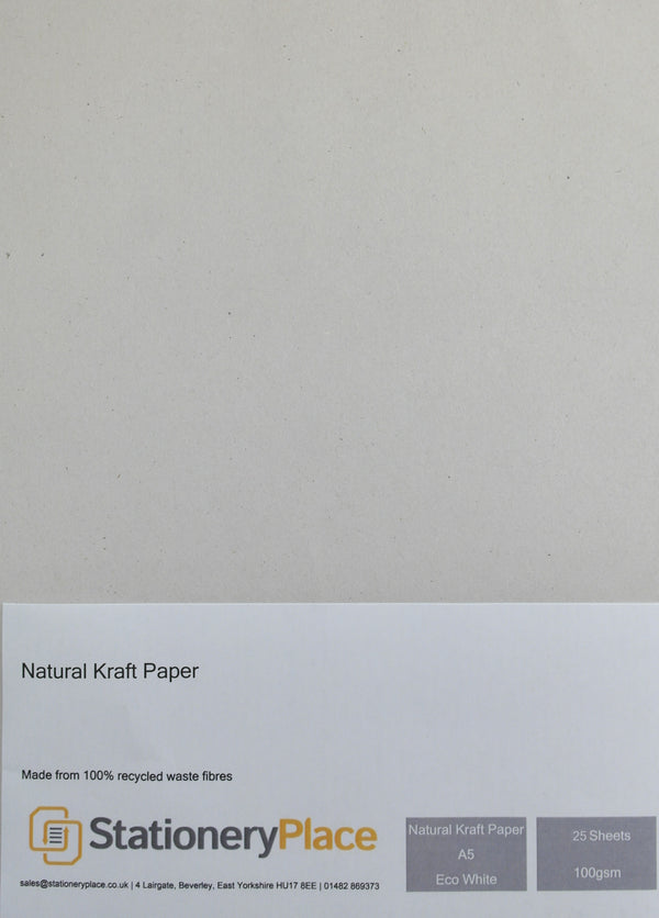 Kraft Paper A5 Eco White 100 GSM 100% Recycled - 25 sheet pack