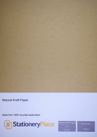 Brown Kraft Paper A4 130 GSM Eco Brown 100% Recycled 50 Sheet Pack