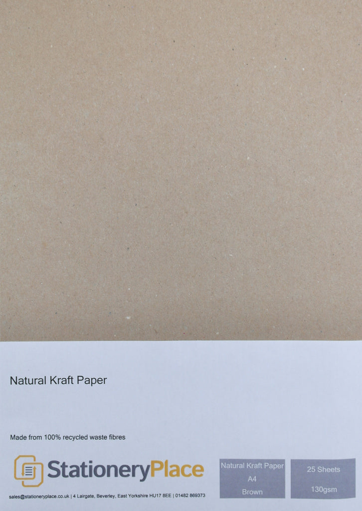 Kraft Paper A4 130 GSM Brown Eco 100% Recycled 25 Sheet Pack