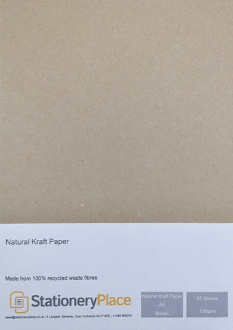 Eco Kraft Paper A5 130 GSM Brown 100% Recycled 25 Sheet Pack