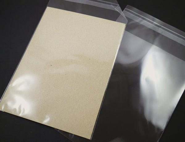 Cello Bags for Greeting Cards, Clear Plastic, Peel and Stick