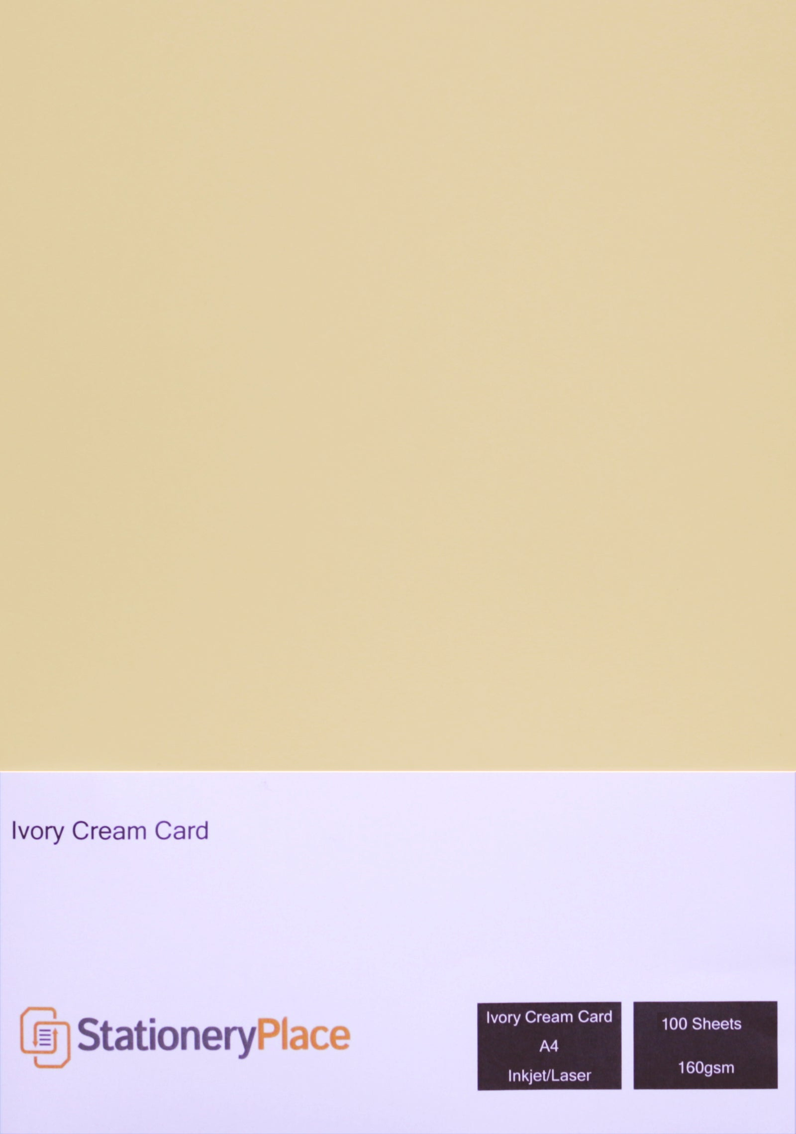 Ivory / Cream Thin Card 160 GSM A4 100 Sheet Pack