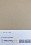 A3 Card Brown Kraft 100% Recycled A3 170gsm 280gsm assorted pack sizes