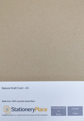 Natural Kraft Card - A3 - 170gsm - 10 sheet pack