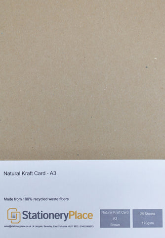 Kraft Card Brown 100% Recycled A3 170gsm 280gsm assorted pack sizes