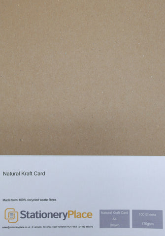 Kraft Card A4 100 Sheets 170GSM - 100% Recycled Natural Menus Wedding Invitations Crafting