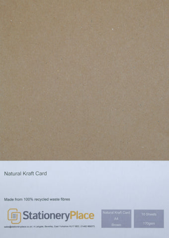 Brown Kraft Card A4 10 SHEETS 170GSM - 100% Natural Recycled  Ideal for Wedding Craft Menus