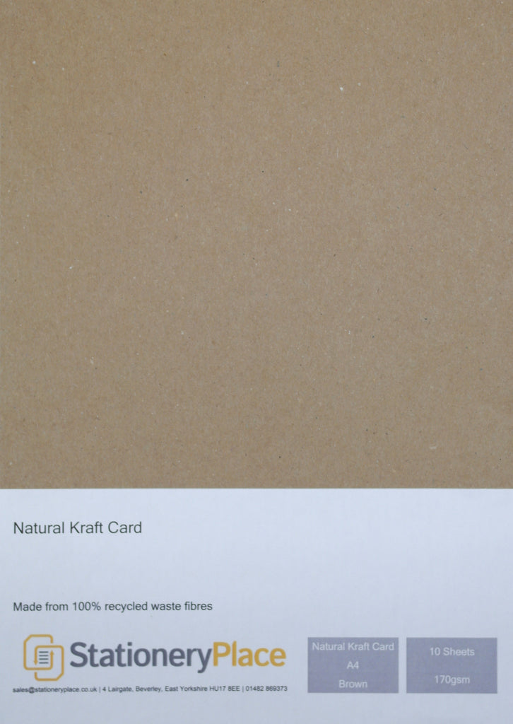 A4 Kraft Card Brown 170GSM - 100% Natural Recycled  Ideal for Wedding Craft Menus