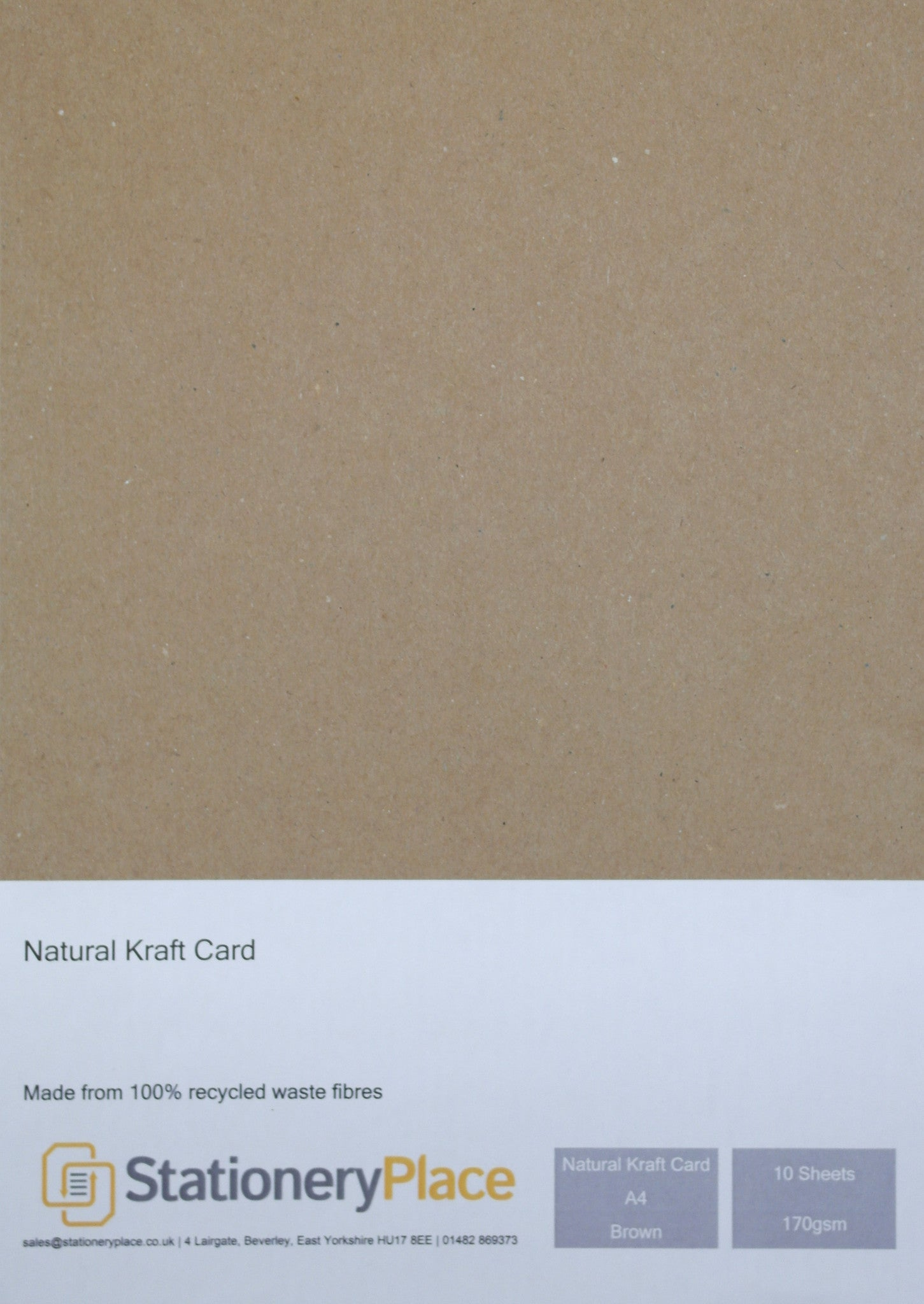 Recycled Card A4 10 Sheets Kraft 170GSM - 100% Natural Recycled  Ideal for Wedding Craft Menus