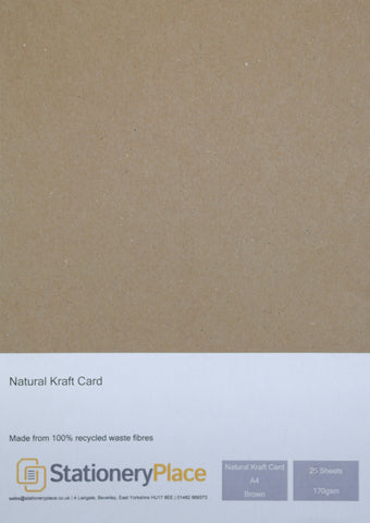 Kraft Card Brown 170gsm 100% Recycled A4 A5 1 to 1000 sheet packs