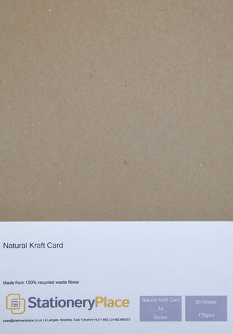 Kraft Card  A4 50 Sheets 170GSM - 100% Recycled Natural Ideal For Weddings Menus Craft