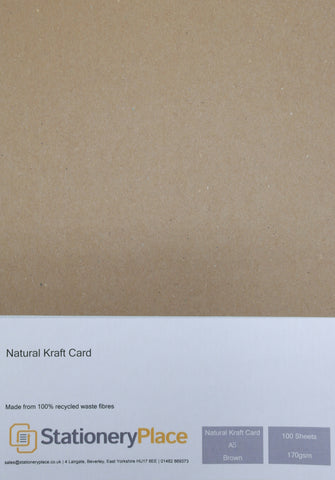 Natural Kraft Card - A5 100 Sheets 170GSM - 100% Recycled