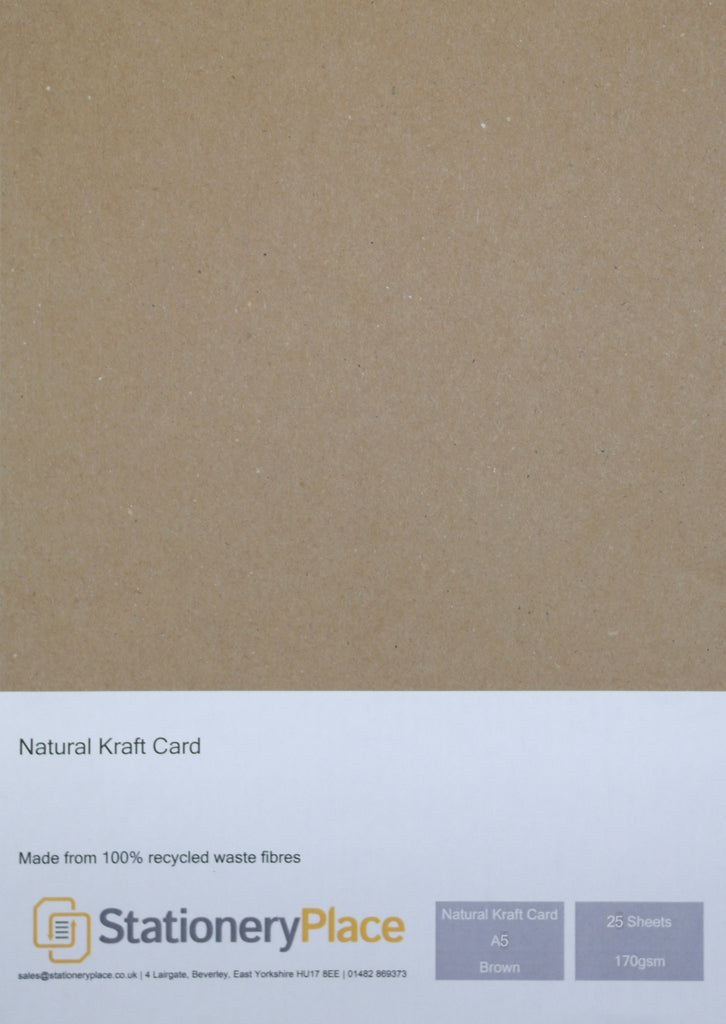 NATURAL KRAFT CARD - A5 25 SHEETS 170GSM - 100% RECYCLED