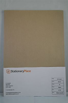 Ribbed Buff Brown Kraft Paper 90 GSM A4 & A5 Pack sizes 20 sheets to 100 sheets