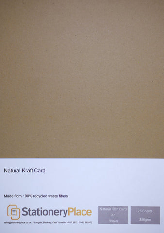 100% Recycled Natural Kraft Card - A3 25 Pack 280GSM