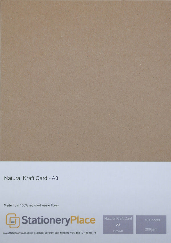 A3 Kraft Card  Brown Recycled Natural 280gsm