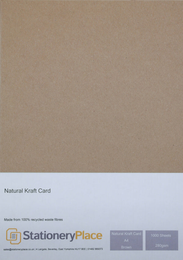 Thick Brown  Kraft Card  Recycled - A4 1000 Pack 280GSM Ideal For Weddings Craft