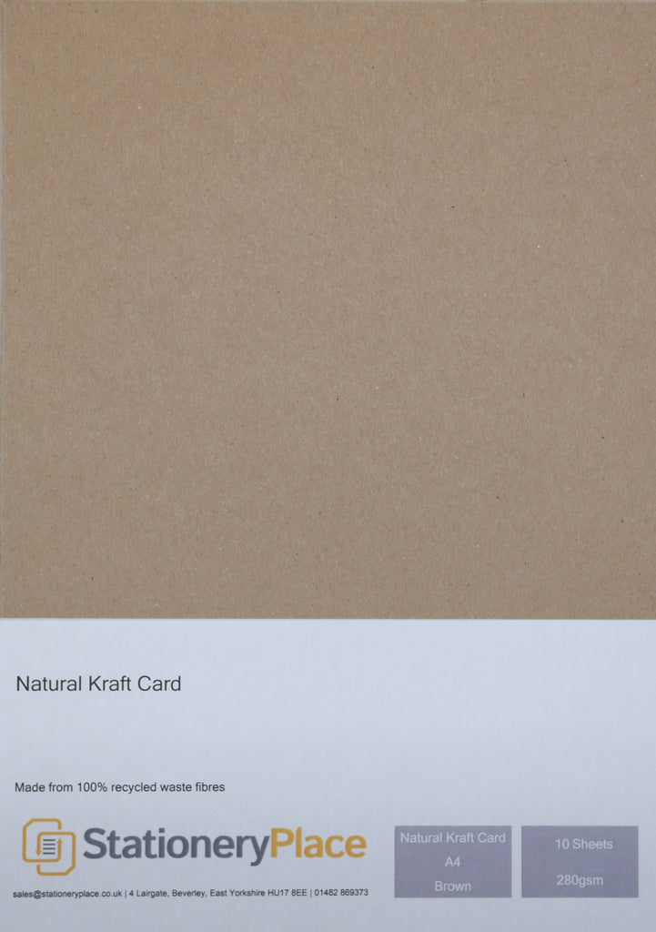 Thick Brown Card - A4 10 Pack Recycled Kraft 280GSM Ideal Wedding Craft Use