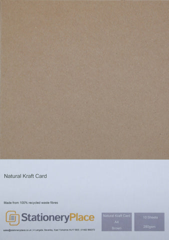 Natural Kraft Card 100% Recycled Brown A3 A4 A5 280gsm 1 to 100 sheet packs
