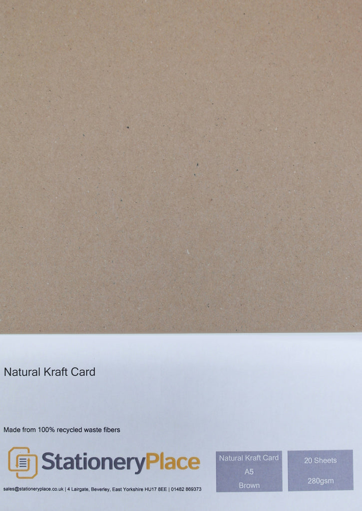 a5 kraft card - Recycled Kraft Card 20 Pack 280GSM
