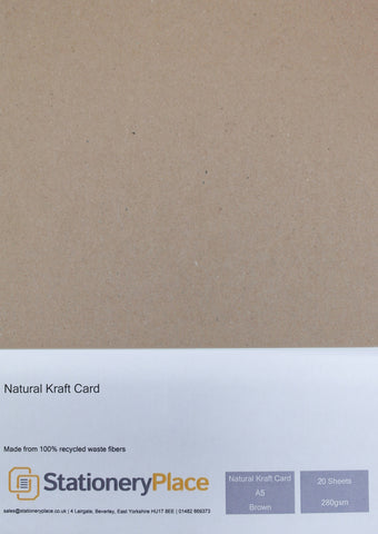 Brown A5 Card - Recycled Kraft Card 20 Pack 280GSM